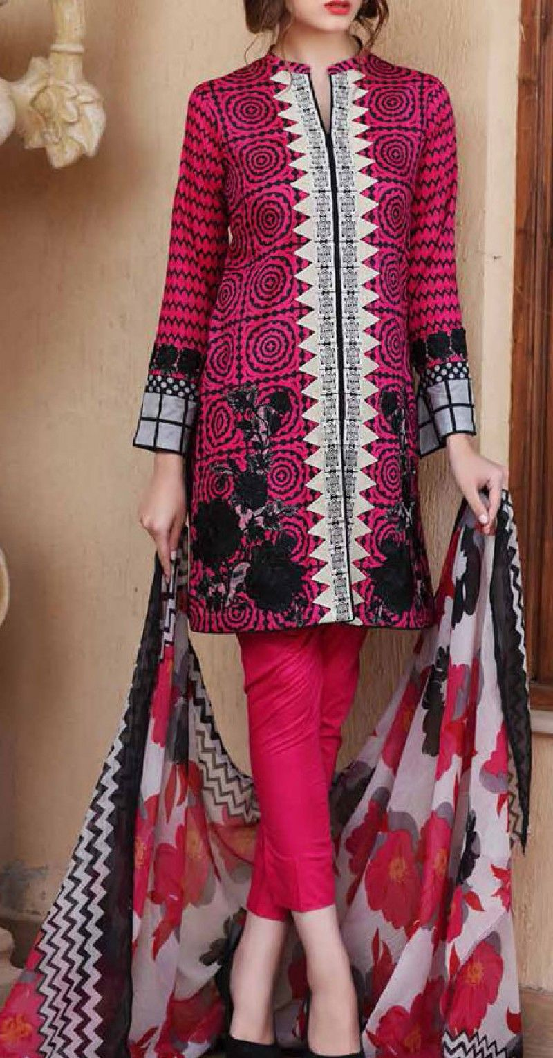 a8494c4ce17c Magenta Embroidered Cotton Lawn Dress Contact  (702) 751-3523 Email ...