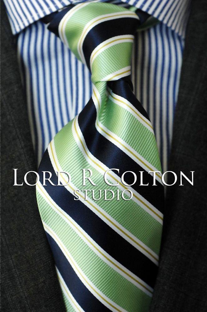 Lord R Colton Studio Tie $95 Retail New Navy /& Red Stripe Woven Necktie
