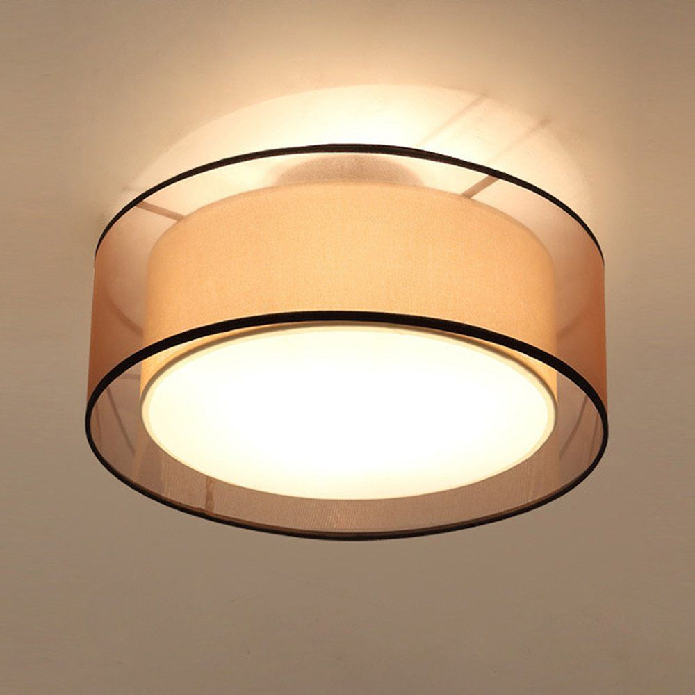 Southpo Led Ceiling Light Fabric Shade Modern Double Drum Round Linen Cloth Cover Lights Metal Iron Pe Pendant Light Fixtures Ceiling Lights Led Ceiling Lights