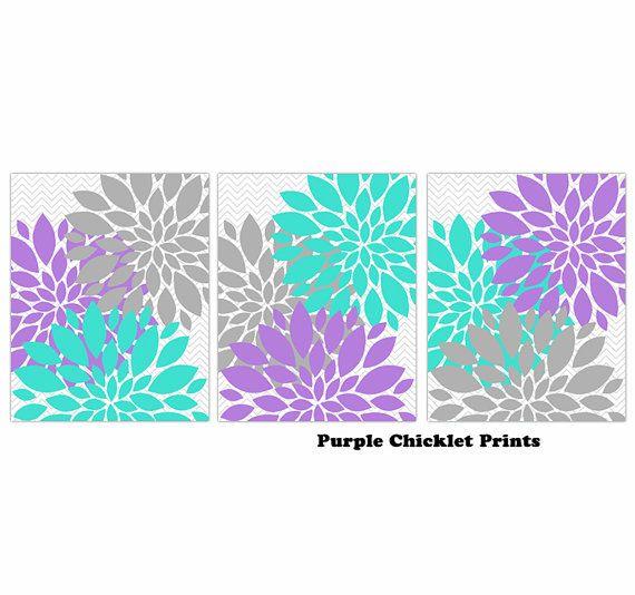Turquoise Lavender Gray Flower Burst Wall Art Chevron Purple Botanical Set Of 3 Prints For S
