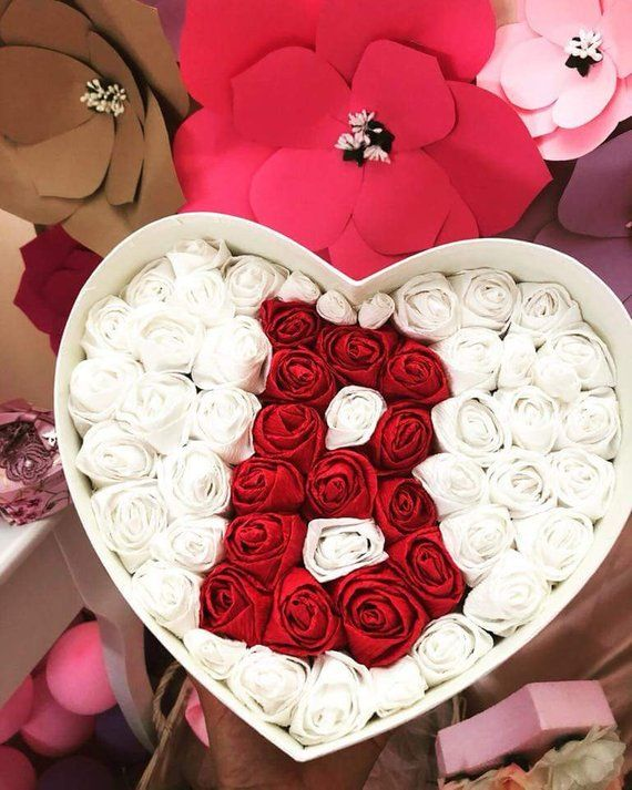 36ea0a45764a9 Floral Box Handmade Roses Initials Anniversary Beloved Birthday Heart Shape  Romantic Gift Personal S