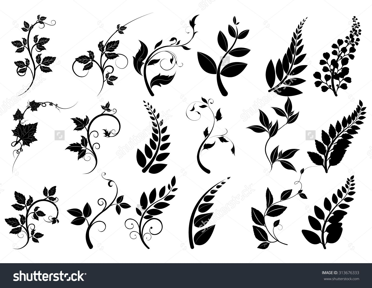 Line Drawing Flower Vector : Silhouettes of trees leaves vector line borders text dividers and