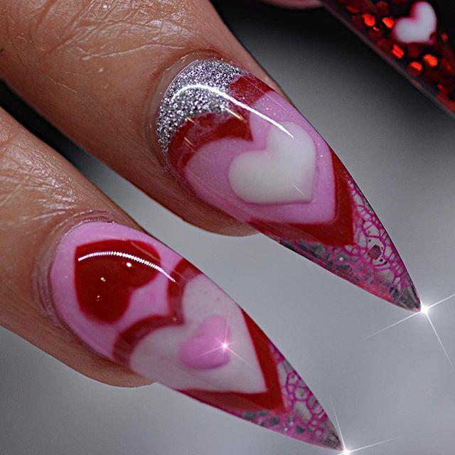 Get The Look 3 Valentine S Day Nail Art Ideas From Lauren B: Valentine's Day Stiletto Nails