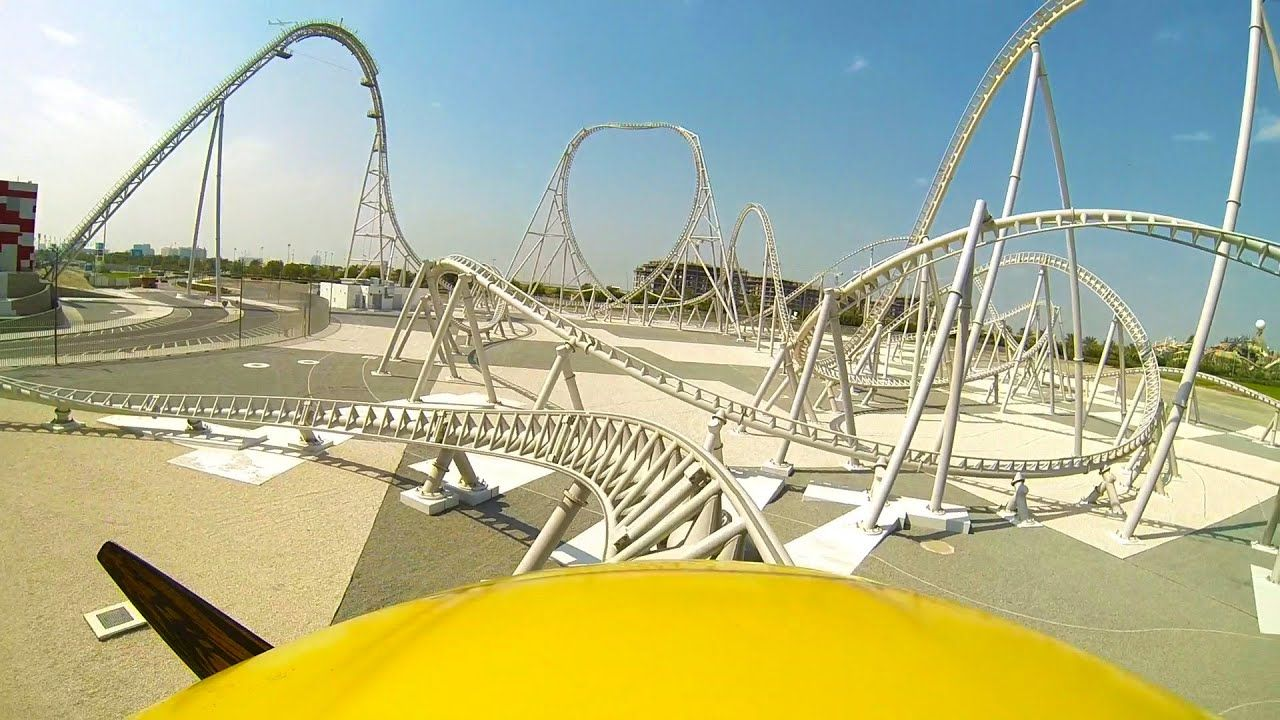 Flying Aces Roller Coaster Front Seat Pov Ferrari World Abu Dhabi Uae Ferrari World Abu Dhabi Ferrari World Roller Coaster
