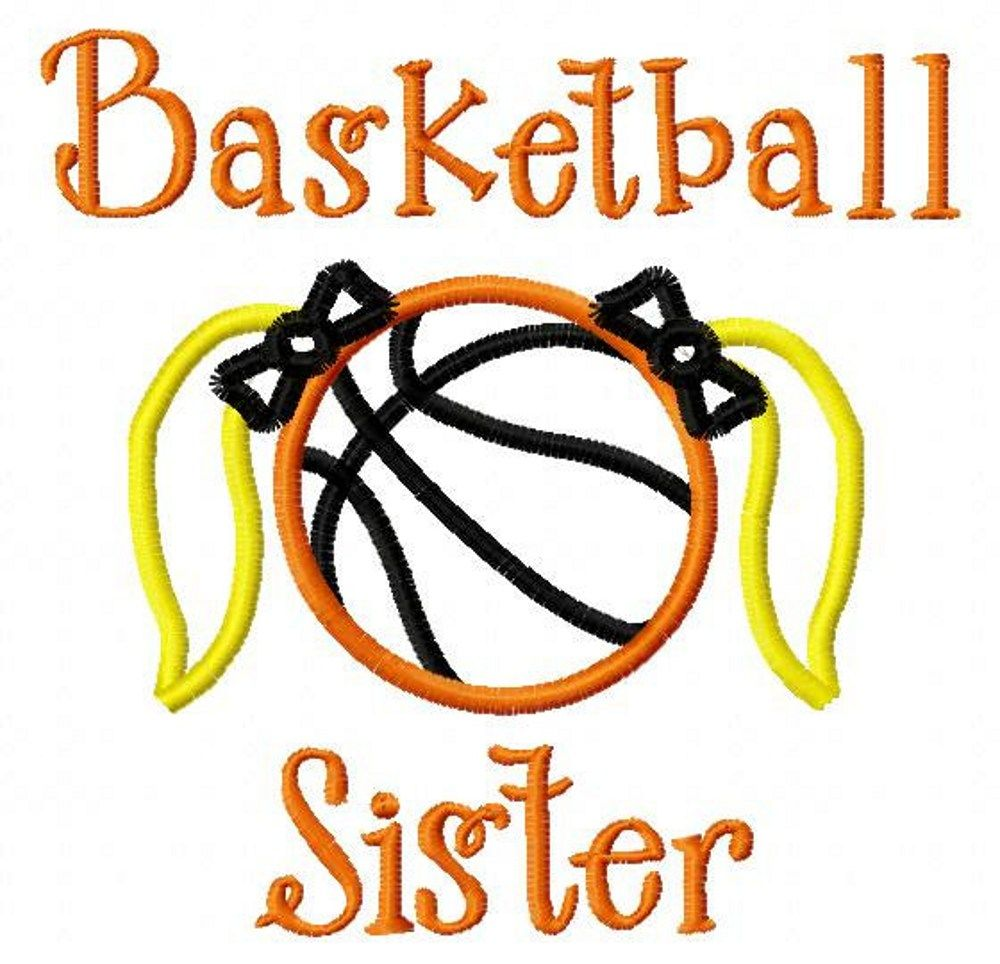 Basketball Sister - Basketball with Piggy Tails and Bows Applique - Machine Embroidery Design - 8 sizes   LilliPadGifts - Patterns on ArtFire