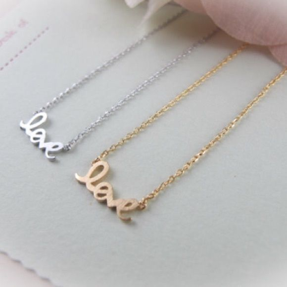 "Love Necklace Dainty Dainty ""love"" metal necklace Stella & Dot Jewelry Necklaces"
