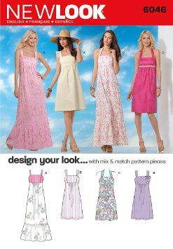 New Look 6046 Misses' Dresses Sewing Pattern, Size A (4-6-8-10-12-14-16)