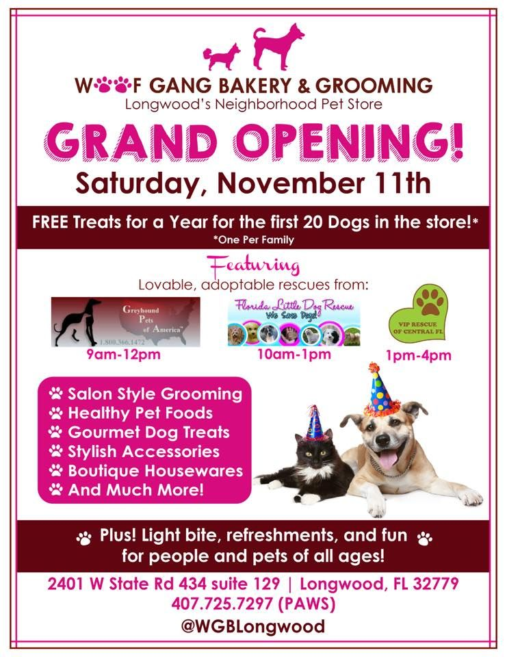 Don T Miss Our Grand Opening Saturday November 11 There Will Be Adoption Events Raffles Prizes And Free Treats For Grand Opening Pet Store Salon Style