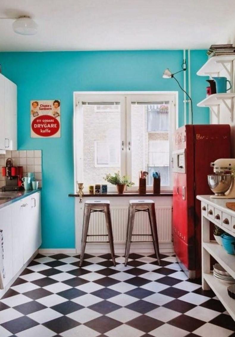 Checkered Tile Retro Kitchen Design | ! DIY- HOUSE BEAUTIFUL ...