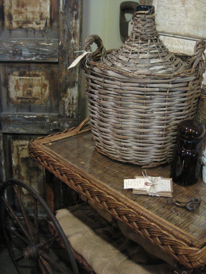 large demijohn and wicker tea cart with my favourite shutter | isabella sparrow
