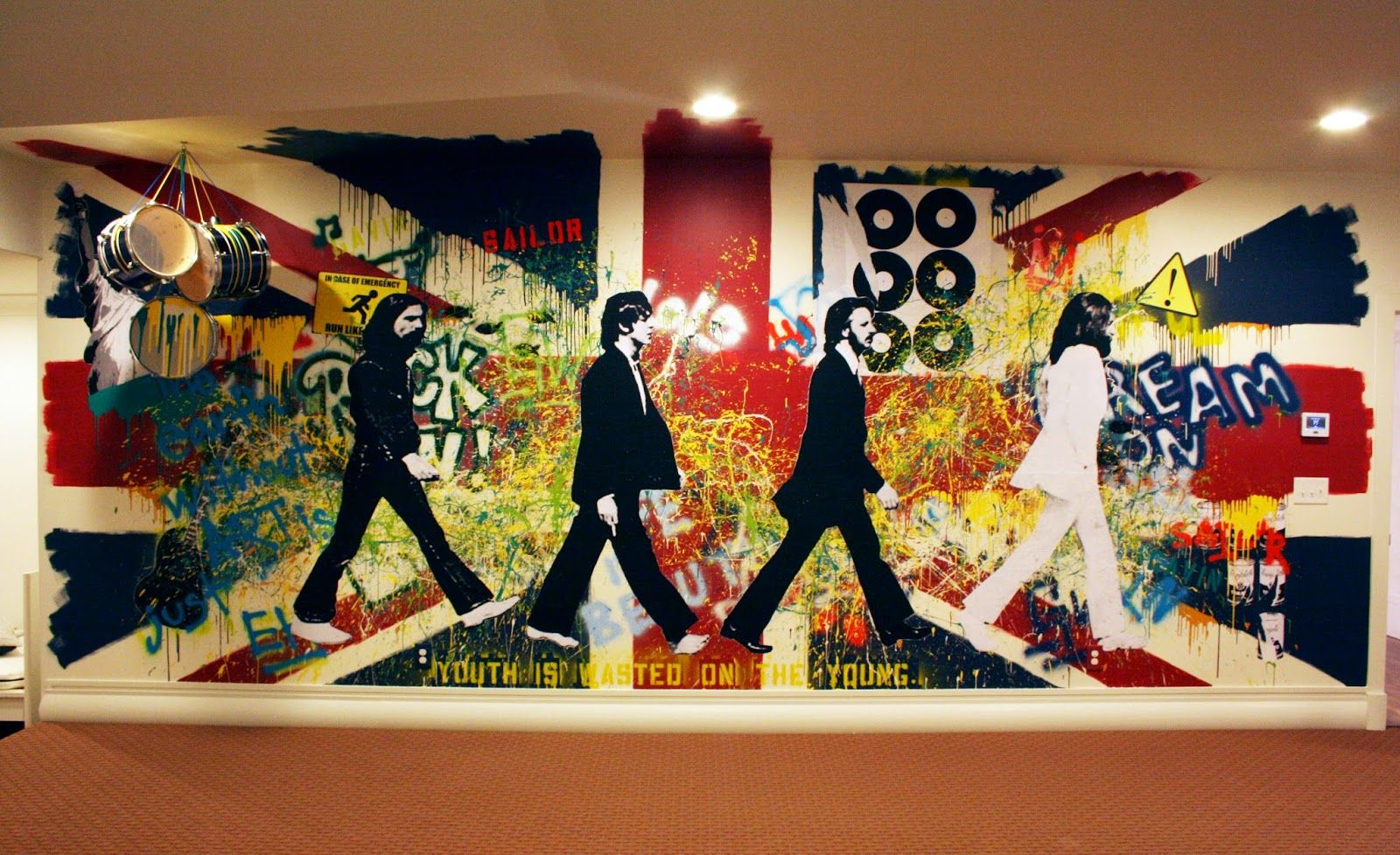 the Beatles Union Jack Rock and Roll Painted Wall Mural Abbey road