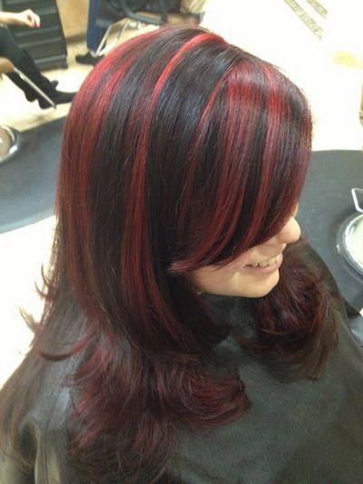 Black Hair Red Highlights Diy Diy Highlights Hair Black Hair With Red Highlights Black Hair With Highlights