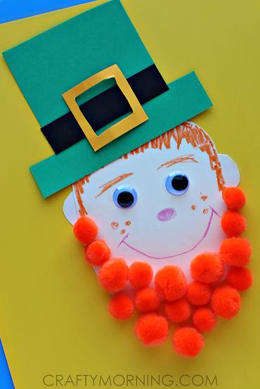 Pom Pom Leprechaun Art Project Fun St Patricks Day Craft For