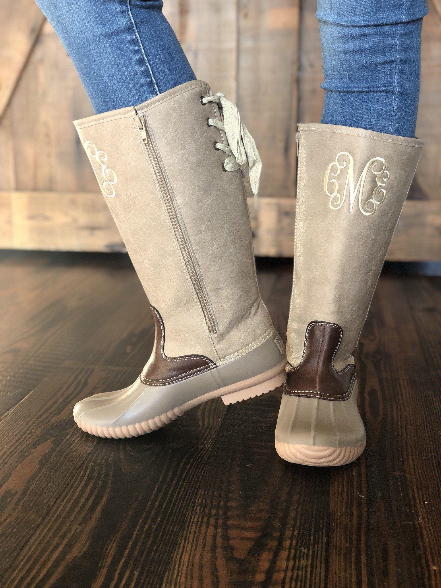 Monogram Tall Duck Boots