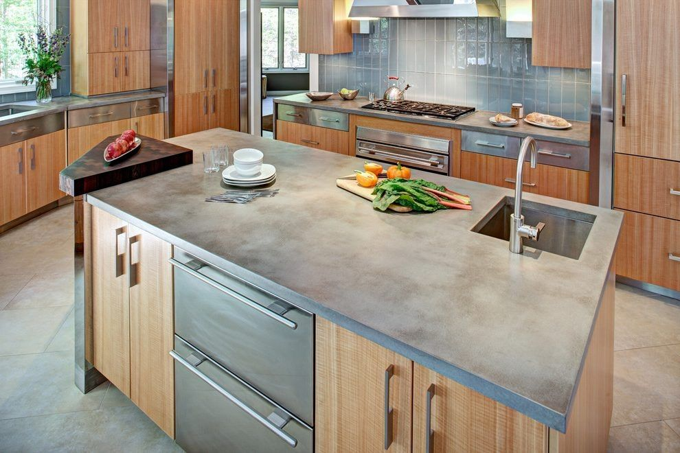Modern Concrete Kitchen Countertops Diy Concrete Kitchen For