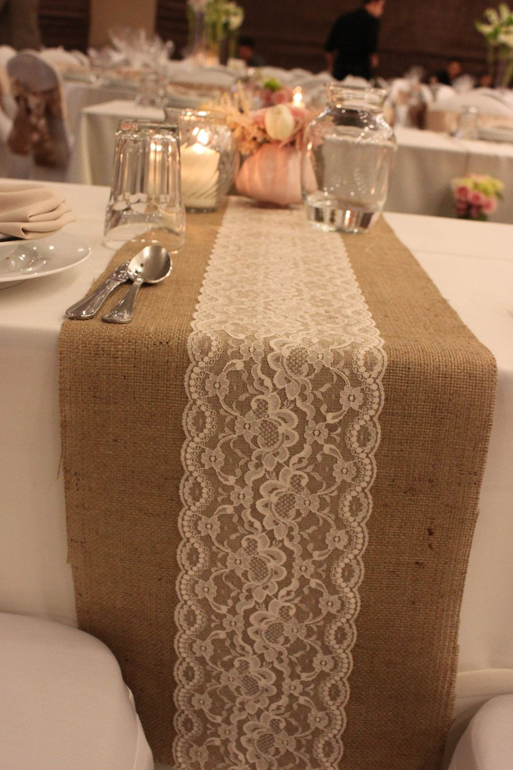 Burlap table runner with hand crouched white lace wedding table ...