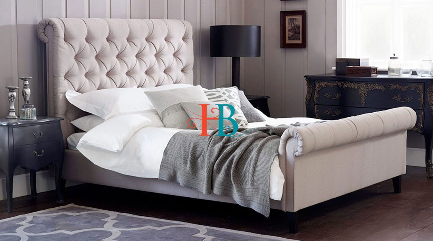 Florida Padded Scroll Sleigh Bed Frame With Cushioned Headboard