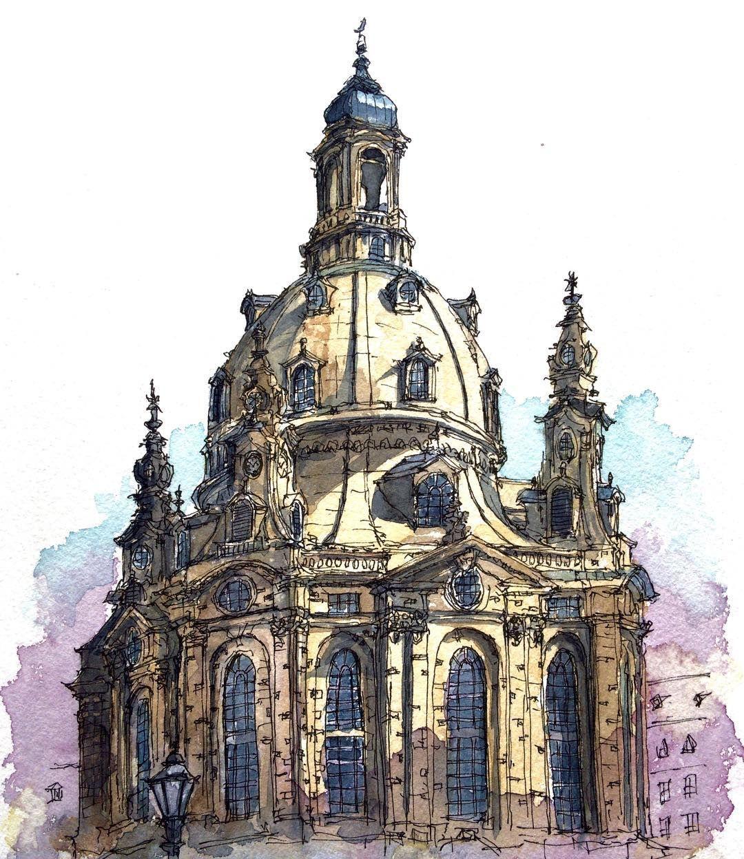 ドイツ ドレスデン フラウエン教会 Frauenkirche Dresden Germany 水彩画 透明水彩 スケッチ Watercolor Wat Watercolor Architecture Architecture Sketchbook Architecture Drawing