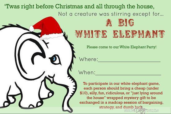 party idearobin white elephant invite blogpostsized - Christmas White Elephant