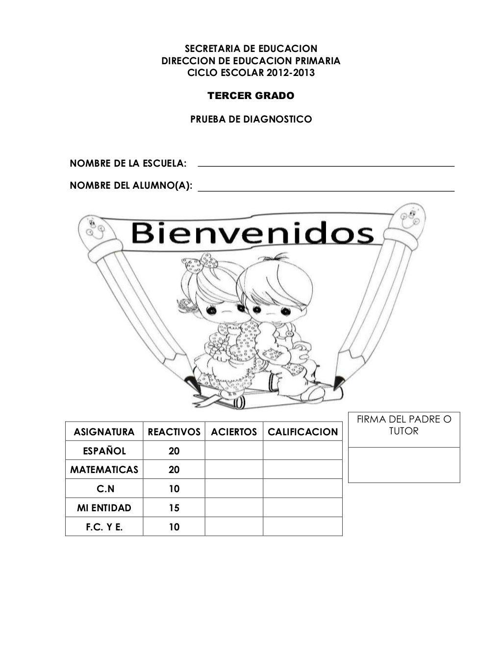 Examen De Diagnostico 3 Er Grado Examenes De Primaria Examen Tercero De Primaria