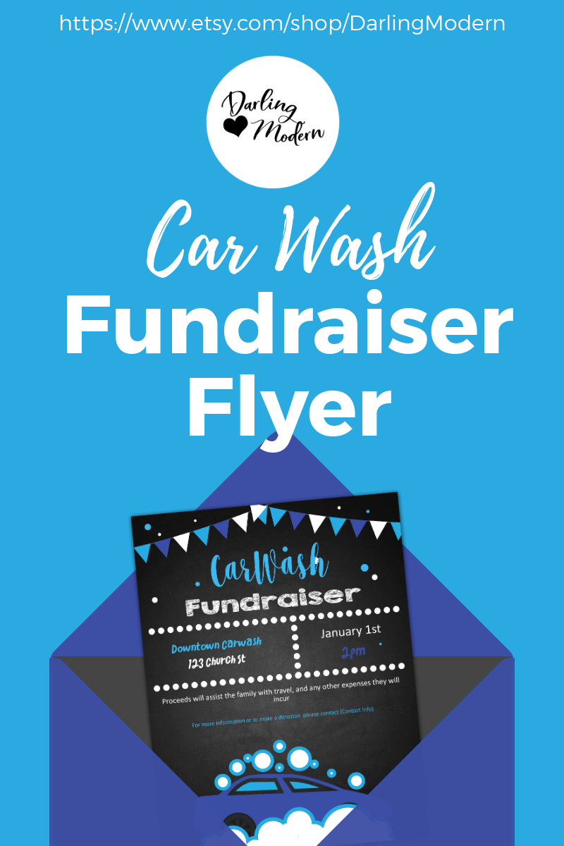Editable Car Wash Benefit Fundraiser Flyer/Poster Instant