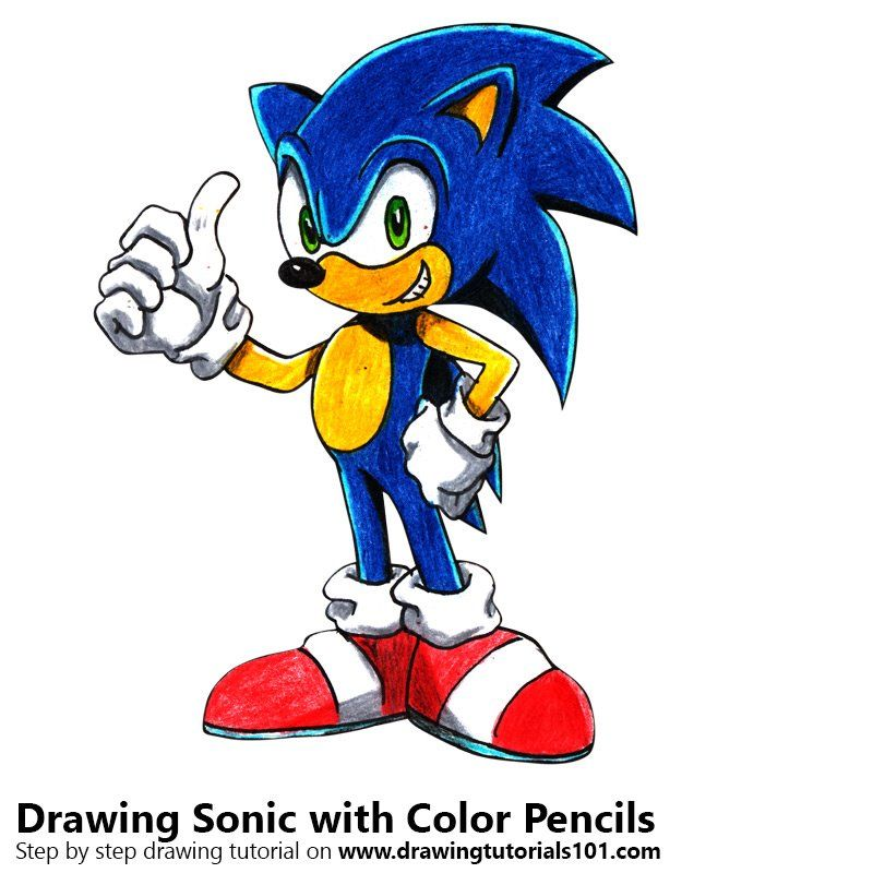 Sonic Colored Pencils Drawing Sonic With Color Pencils