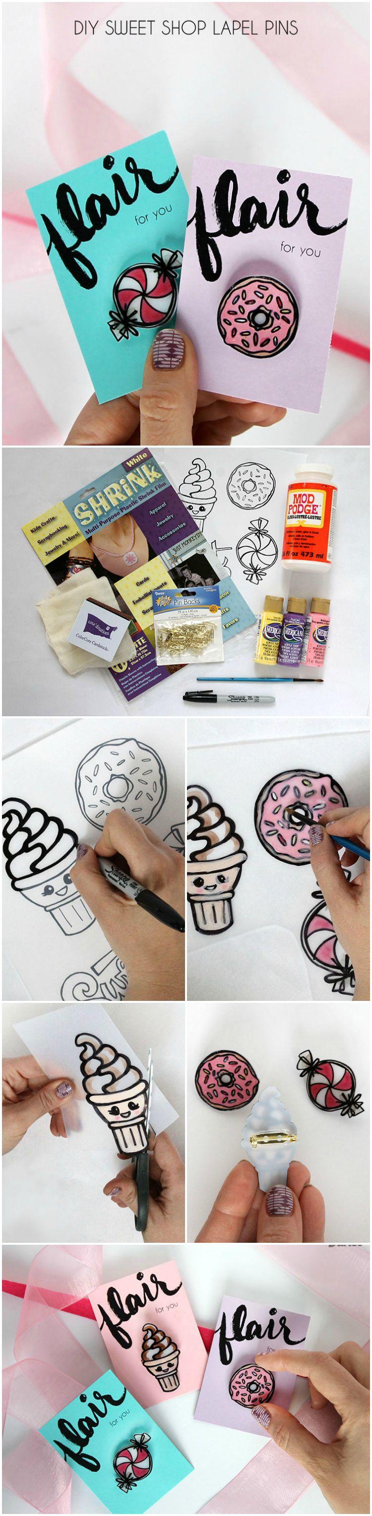 homemade pins inspired by your favorite sweets darice kreativ mit teenagern diy basteln. Black Bedroom Furniture Sets. Home Design Ideas