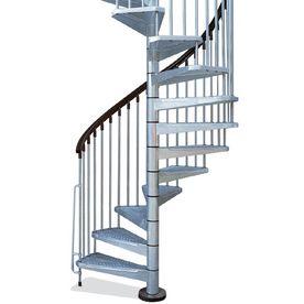 Arke 5 Ft 3 In Enduro Grey Spiral Staircase Kit Spiral Staircase   5 Foot Spiral Staircase   Metal   Hayden Gray   Reroute Galvanized   Steel   Handrail