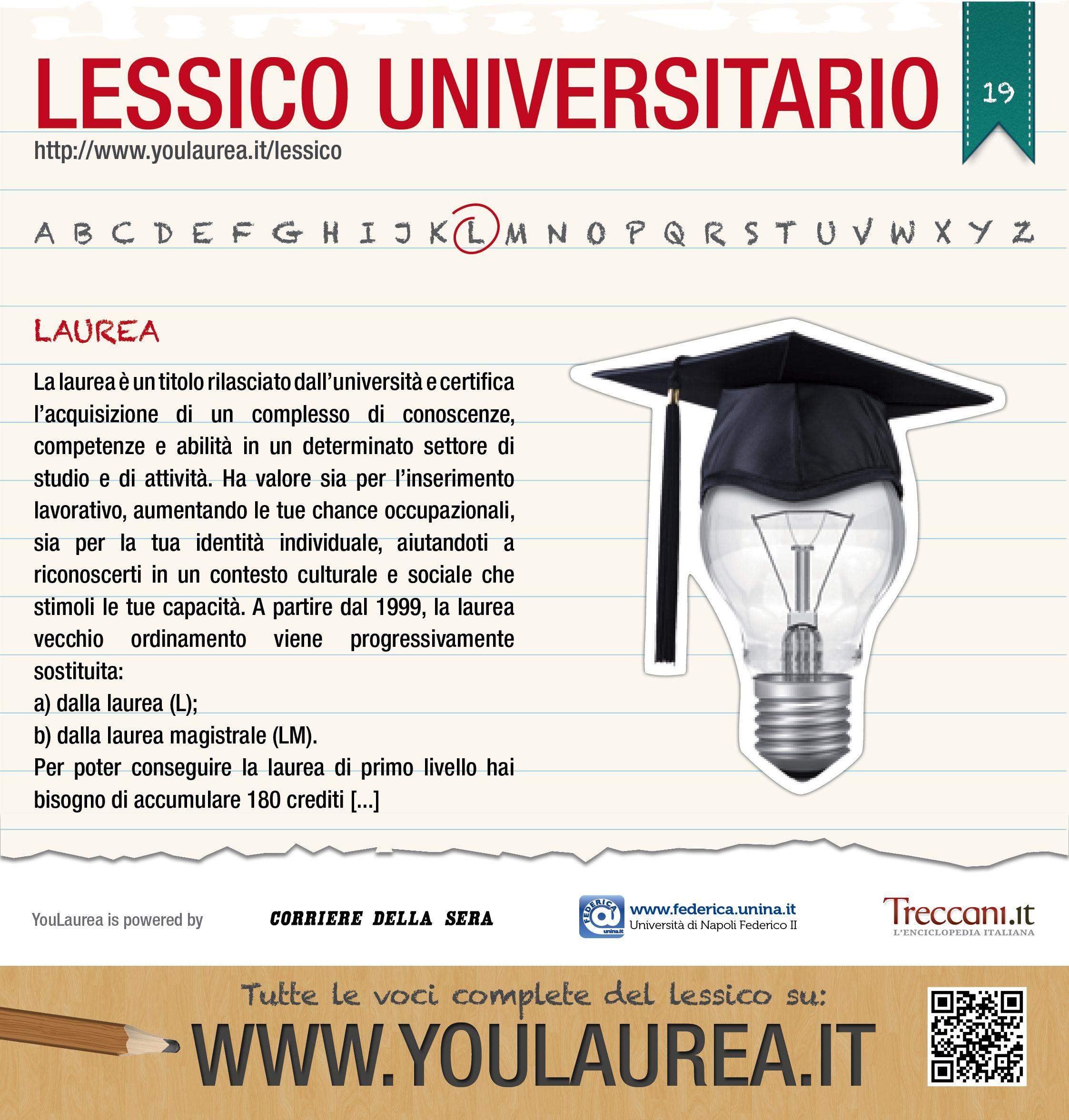 La laurea è un titolo rilasciato dall'università e certifica l'acquisizione di un complesso di conoscenze, competenze e abilità in un determinato settore di studio e di attività...