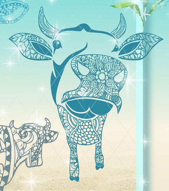 Cow Mandala Zentangle Mini Bundle Svg Dxf Eps Png Pdf Files For