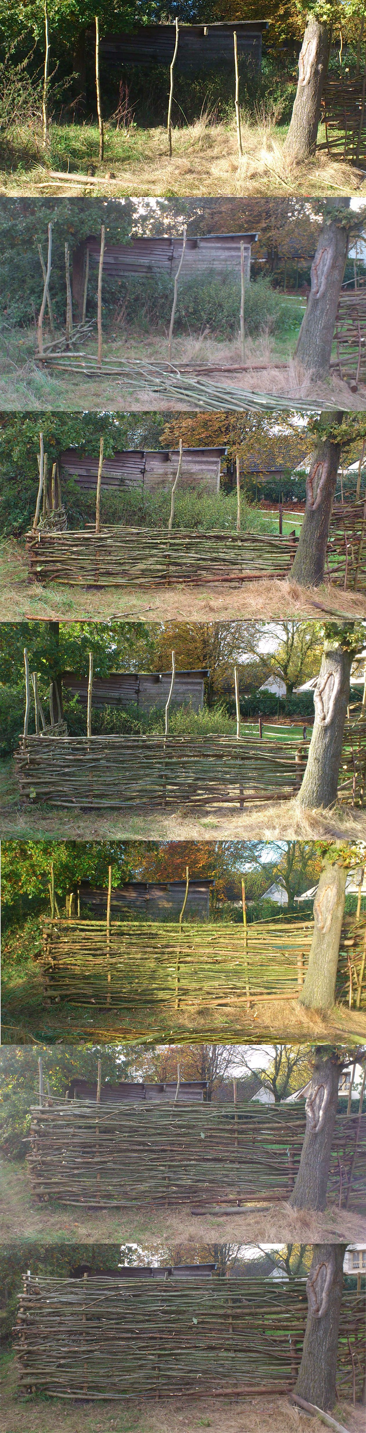 homemade wattle fence DIY Outside decorating