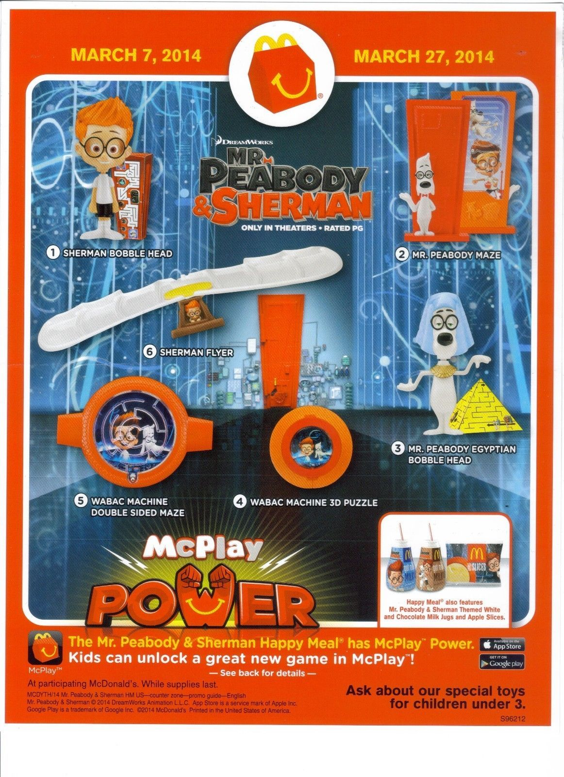 Mcdonalds 2014 Mr Peabody And Sherman Complete Set 3 Happy Meal Mcdonalds Mcdonalds Happy Meal Toys