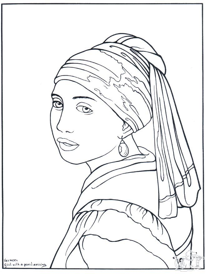 Free coloring pages of famous artwork! (The Girl with the