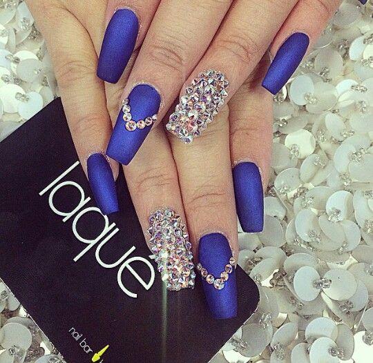 Cute Blue Diamond Nails Rhinestone Nails Diamond Nails Blue Diamond Nails