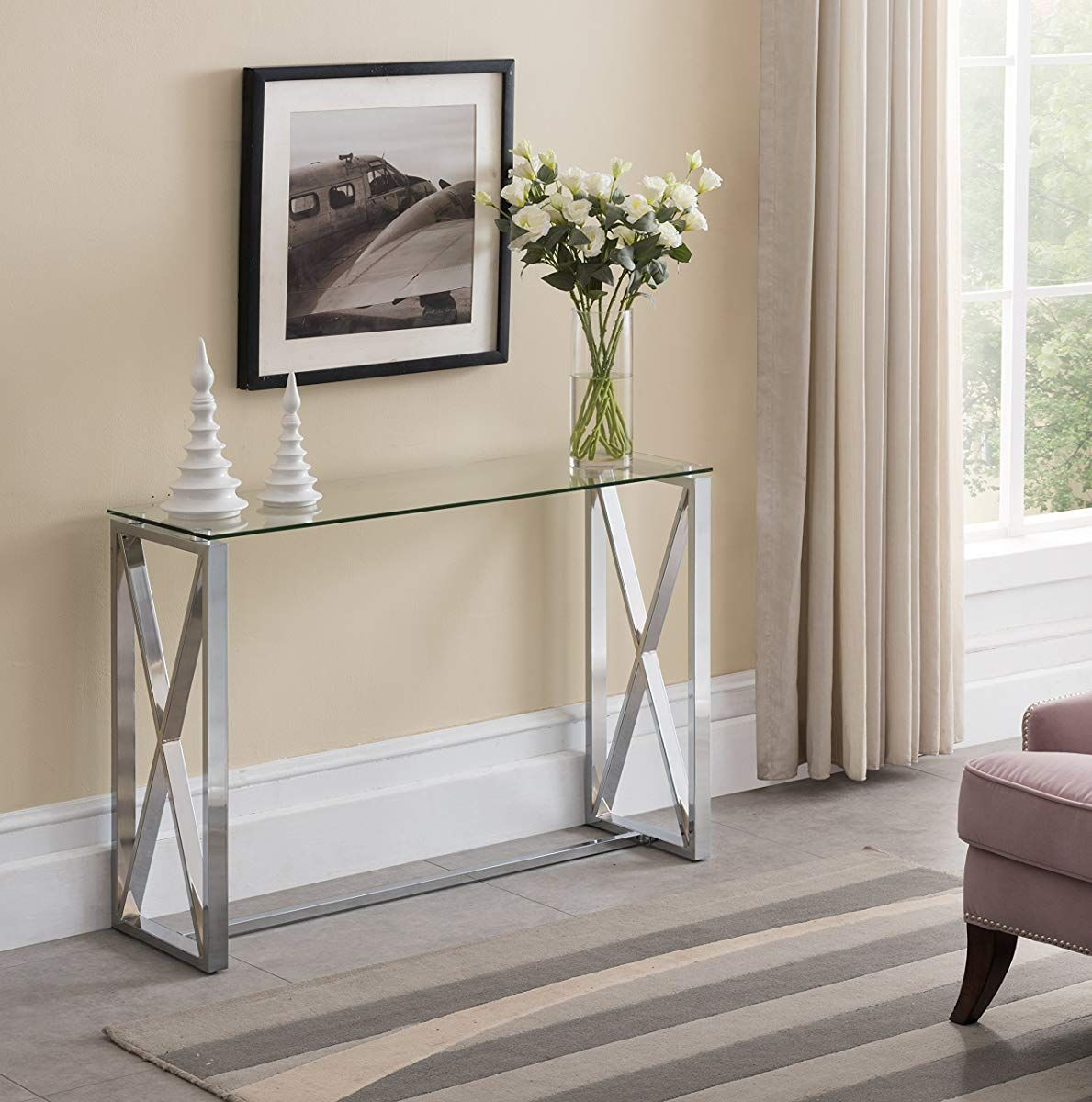 Contemporary Chrome Finish Glass Top Console Sofa Table With