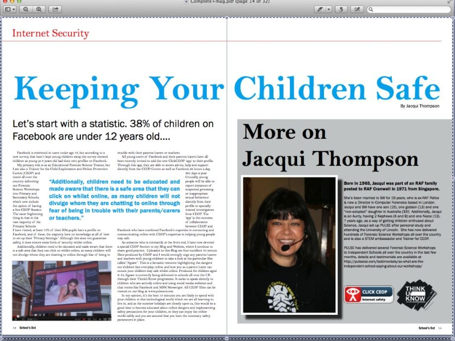 Article published about esafety and safety