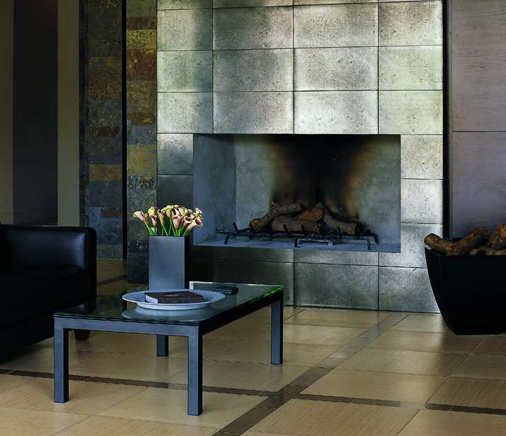 Fireplace Tile Surround, Metallic Tile Fireplace