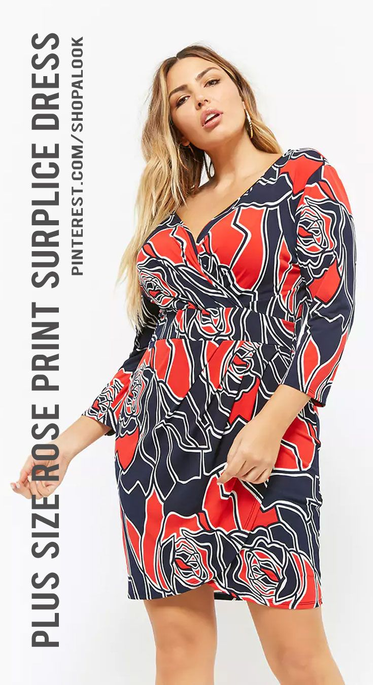 5ddcd5f5663 FOREVER 21+ Plus Size Rose Print Surplice Dress  afflink  dress  fashion