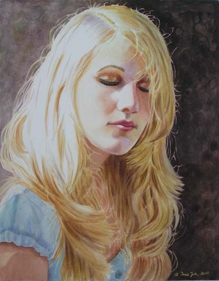 Girl With Blonde Hair Portrait Study On Aquabord By Doris Joa