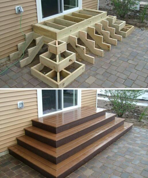 Image Result For Cascading Stairs On To Deck Types Of Stairs Patio Backyard