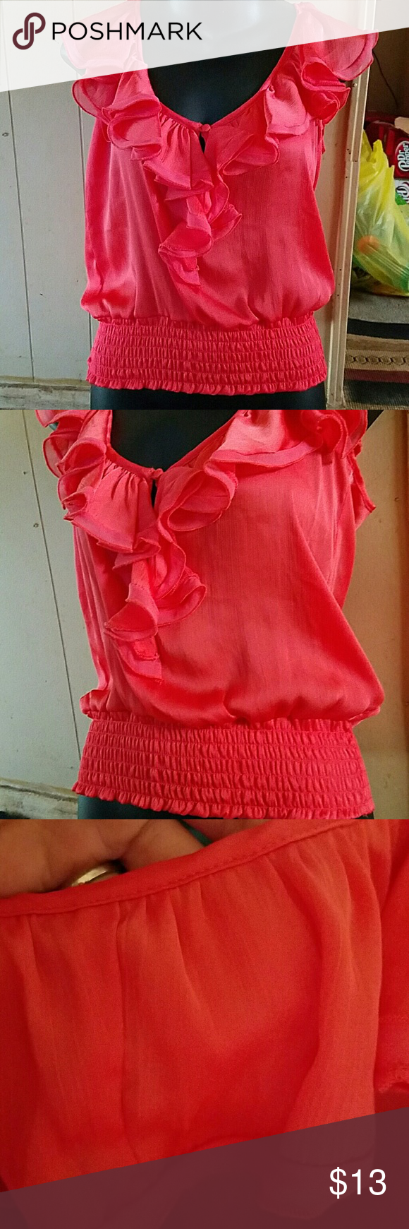 Nwt Salmon coral color top size m Nwt dress ruffle blouse tank coral salmon colored a lot softer then the pic size m contempo Tops