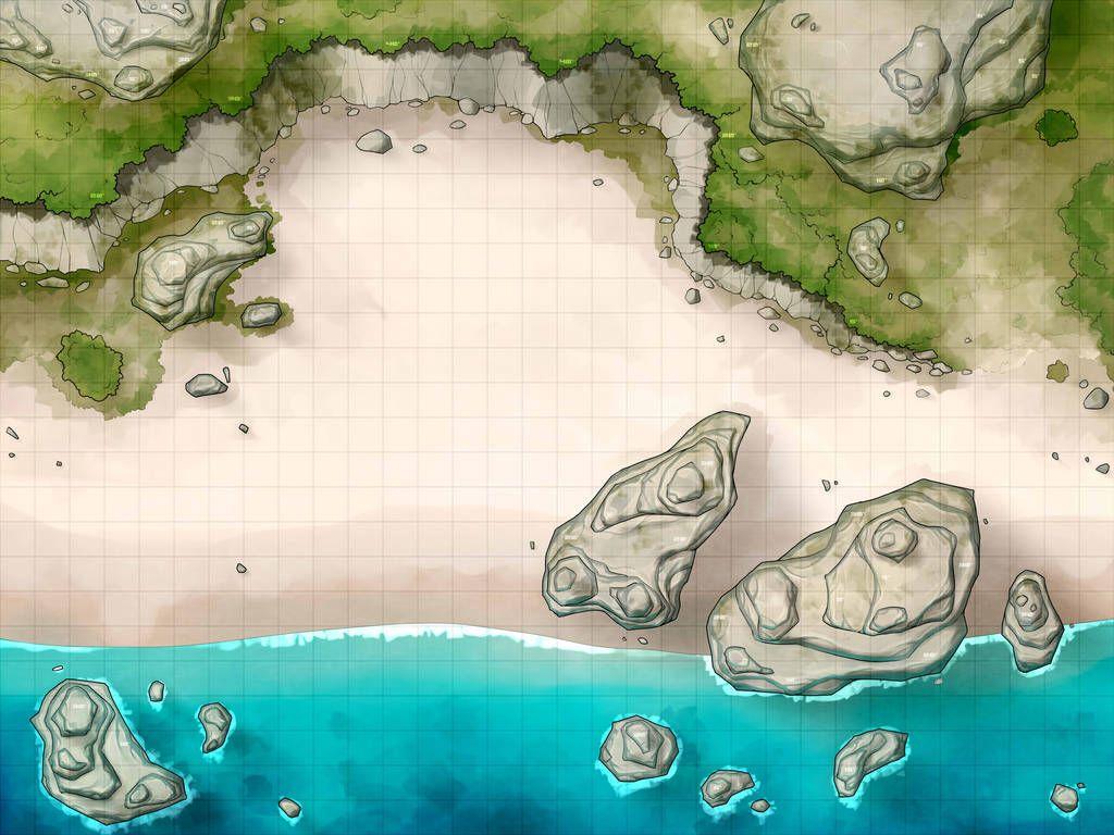 Battlemap - Beach with Cliffs by RoninDude on DeviantArt   Board