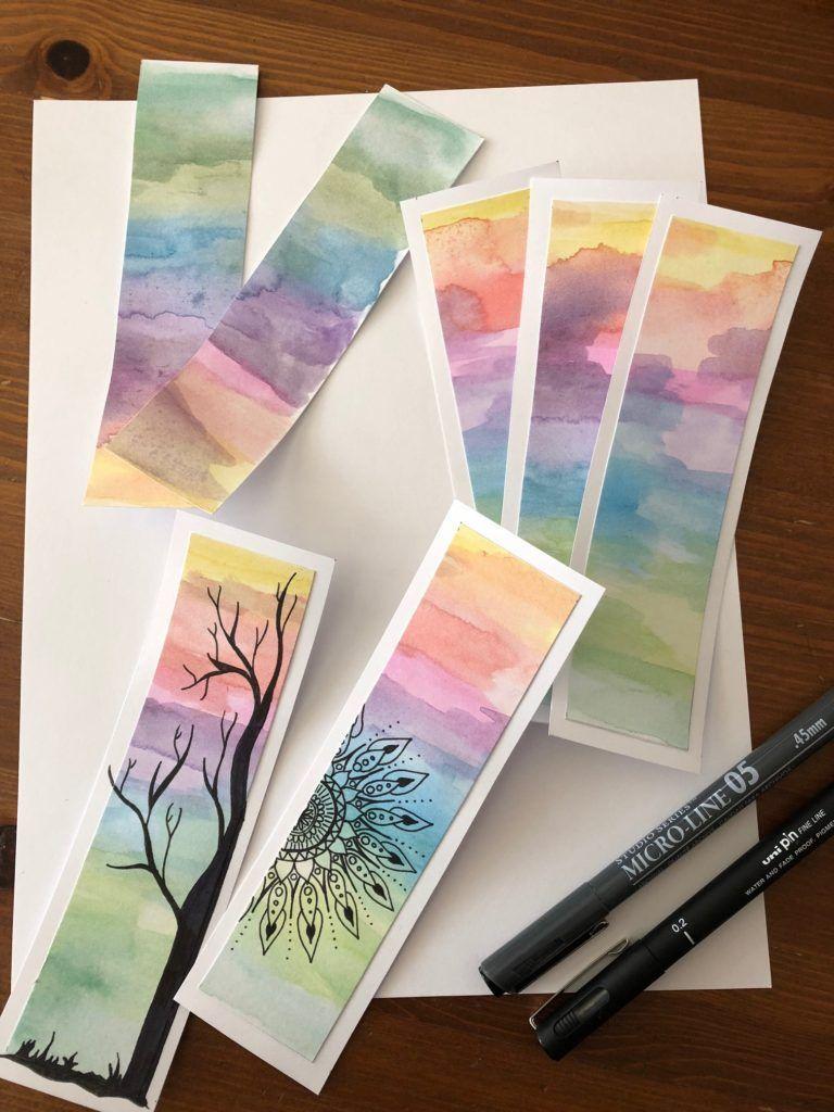 10 Funny Diy Bookmarks Bookmarks Diy Watercolor Black Marker