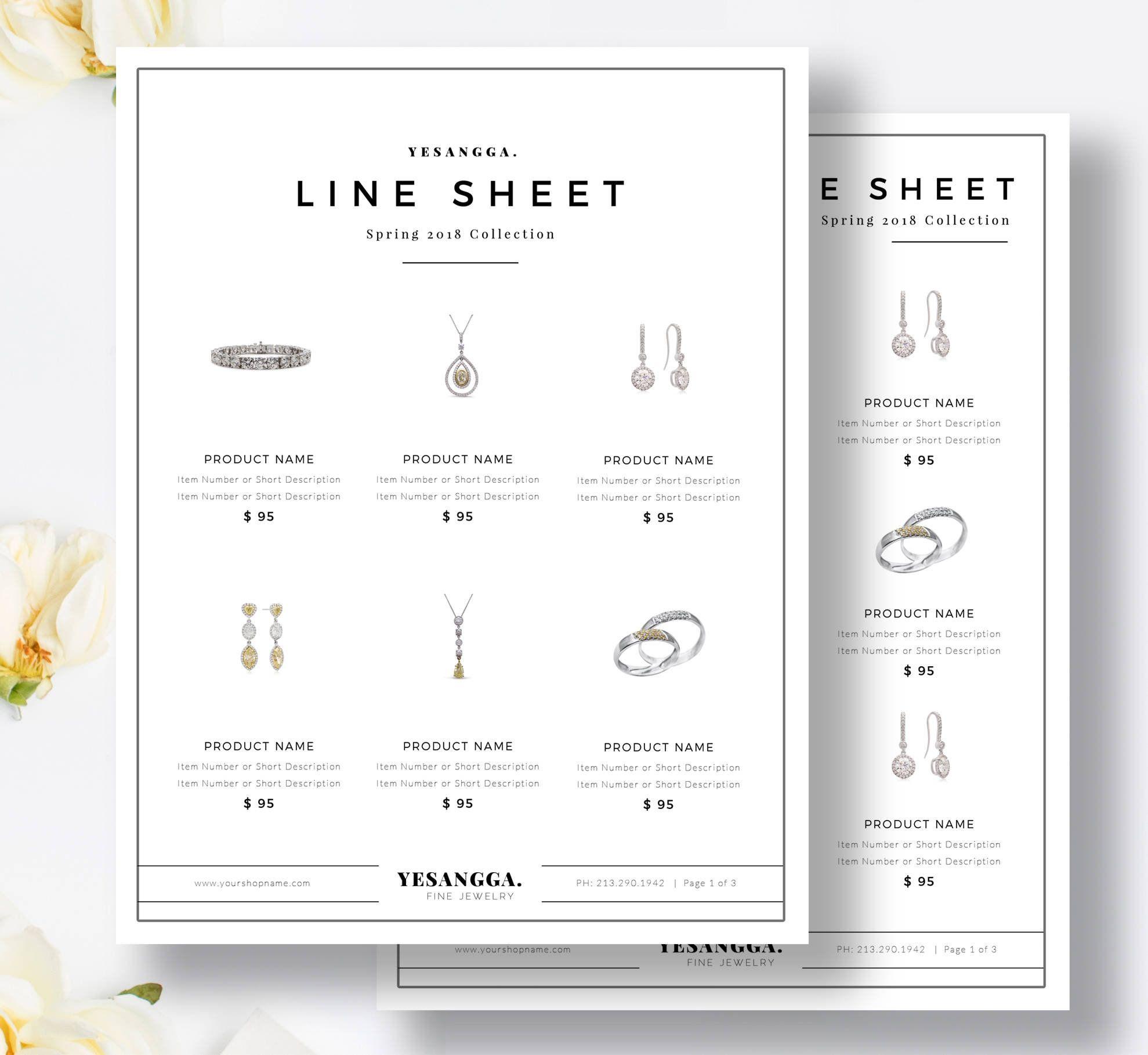 Line Sheet Wholesale Catalog Template Mini Product Brochure