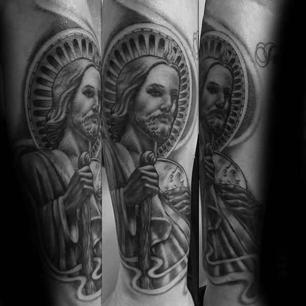40 st jude tattoo designs for men religious ink ideas virgencita pinterest guy tattoos. Black Bedroom Furniture Sets. Home Design Ideas