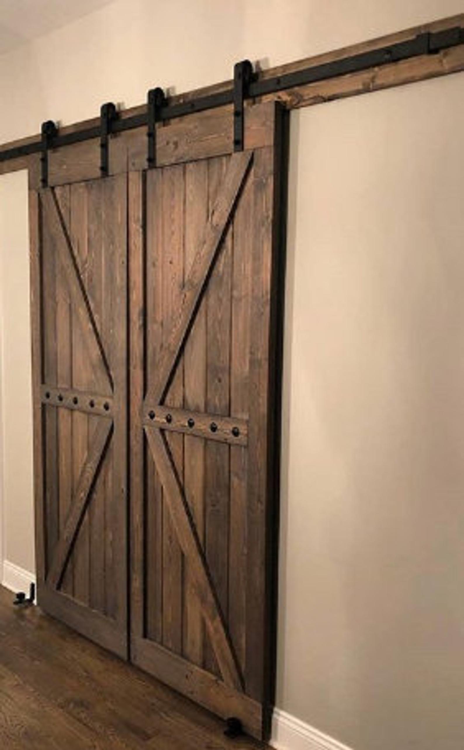 Double British Brace Barn Door Sliding Set With Hardware Farmhouse Style Barn Doors 84x36 Any Size Available Wood Doors Interior Barn Door Double Barn Doors