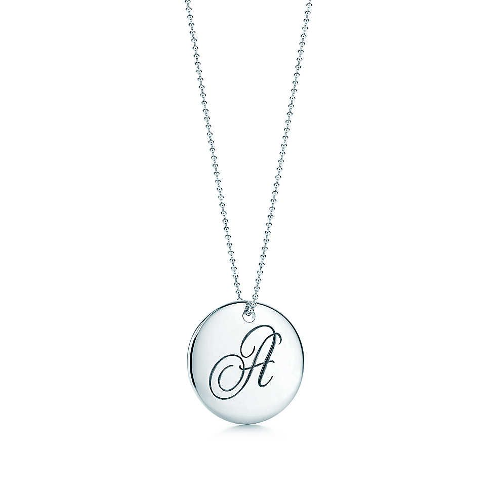 Tiffany notesletter f round pendant round pendant tiffany and tiffany notes letter round pendant in sterling silver i have i and j for the kids for my everyday necklace aloadofball Images
