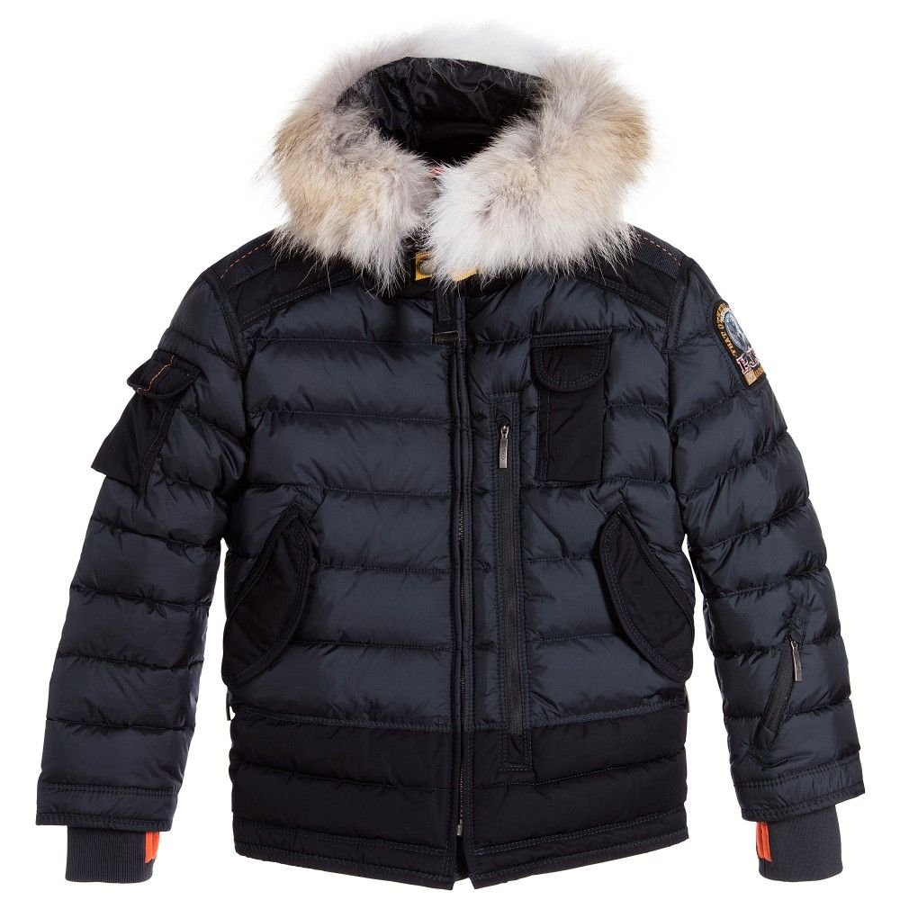 Parajumpers - Boys Blue Down Padded Jacket with Fur |