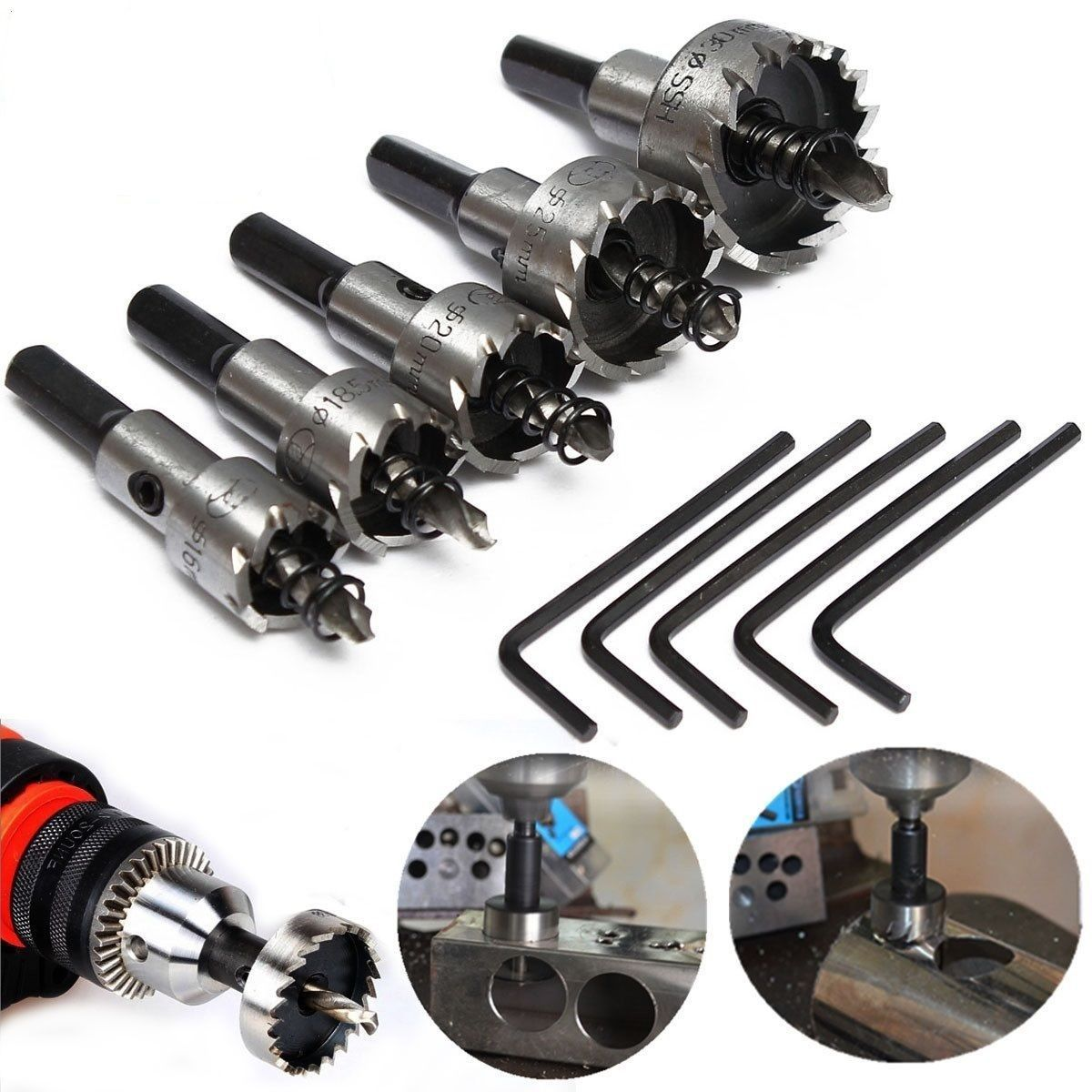 Details About 5pcs 16 30mm Hole Saw Cutter Drill Bit Set Hss Hole Saw Drill Sheet Metal Reamer Hole Saw Sheet Metal Stainless Steel Metal