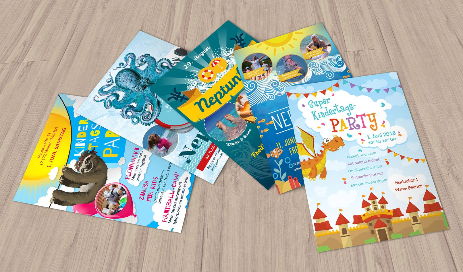 Photo of Flyer- og Plakatvorlagen zum Neptunfest und Kindertag